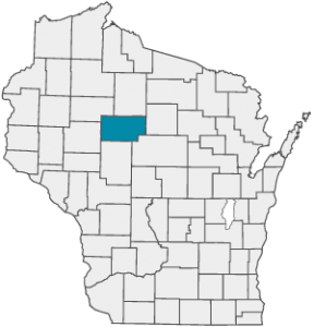 Wisconsin map with Taylor County emphasized